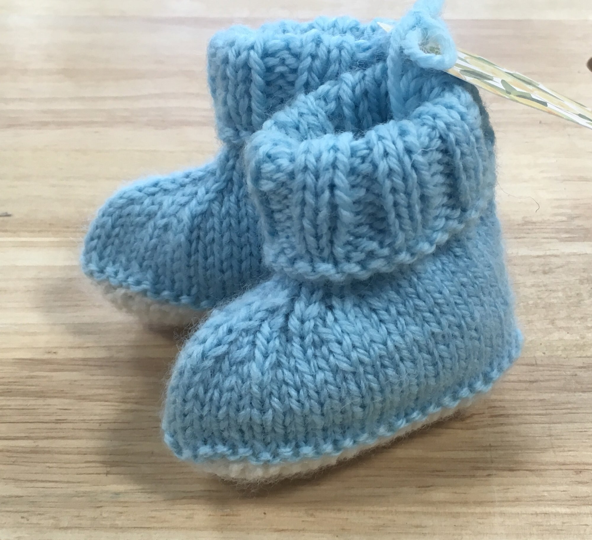 Light Blue & White Wool Baby Booties - 1 - 6 months