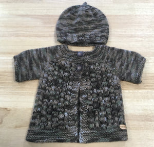 Brown, Khaki, Stone Short Sleeved Cardigan - Newborn