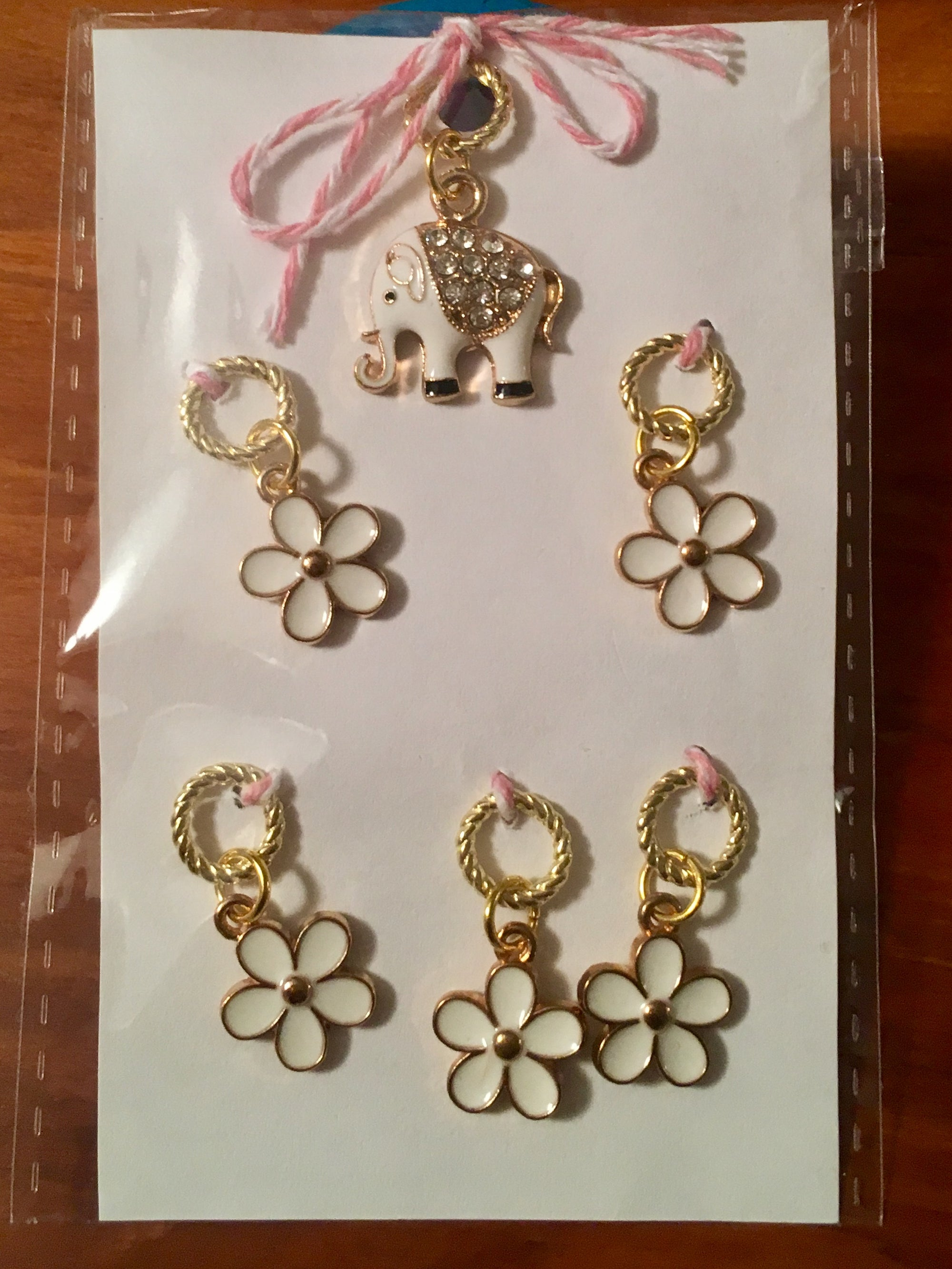 Elephant & Flowers Stitch Marker Set