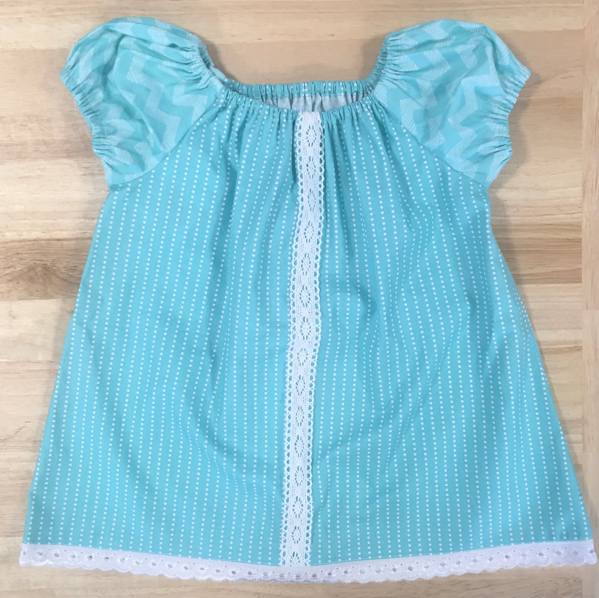 Girl's Aqua Spotty Top