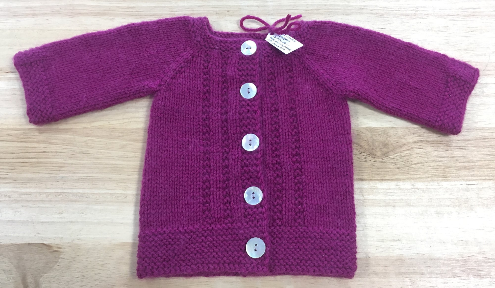 Maroon Long Sleeved Merino & Cashmere Wool Baby Cardigan - Newborn