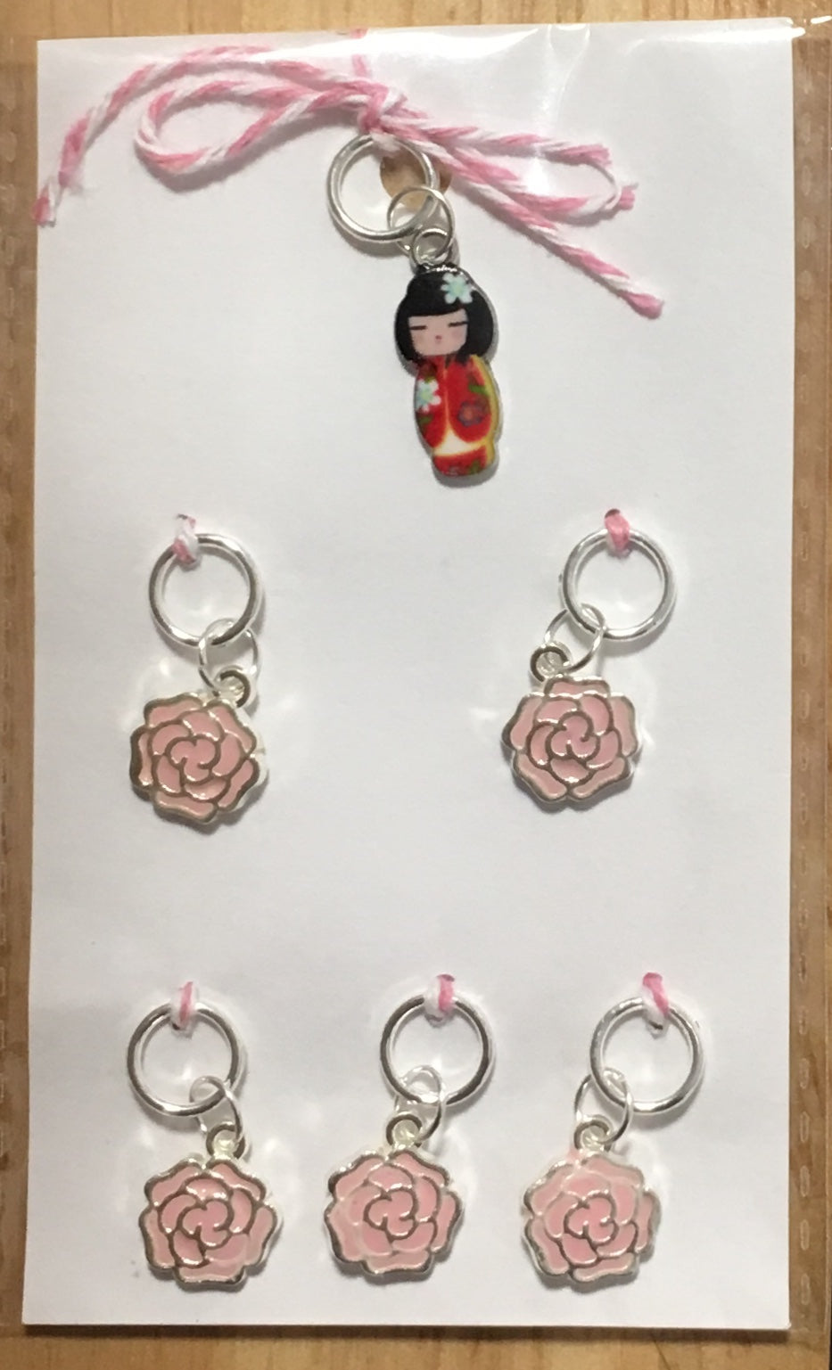 Japanese Doll in Red with Pink Flowers Stitch Marker Set