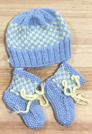 Pale Blue with Lemon Check Merino Wool Booties - 0 - 3 months