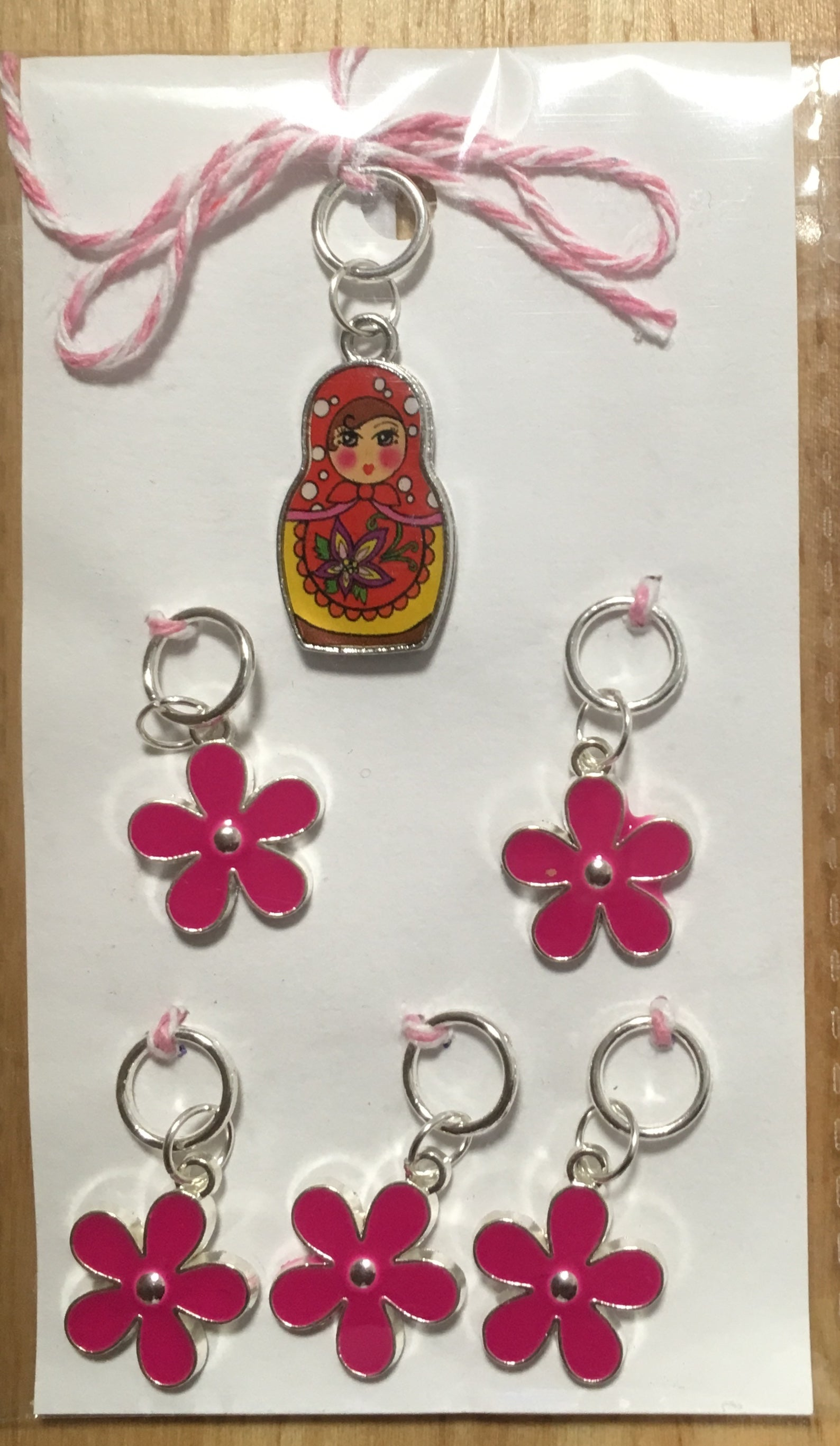 Russian Doll with Pink Flowers Stitch Marker Set
