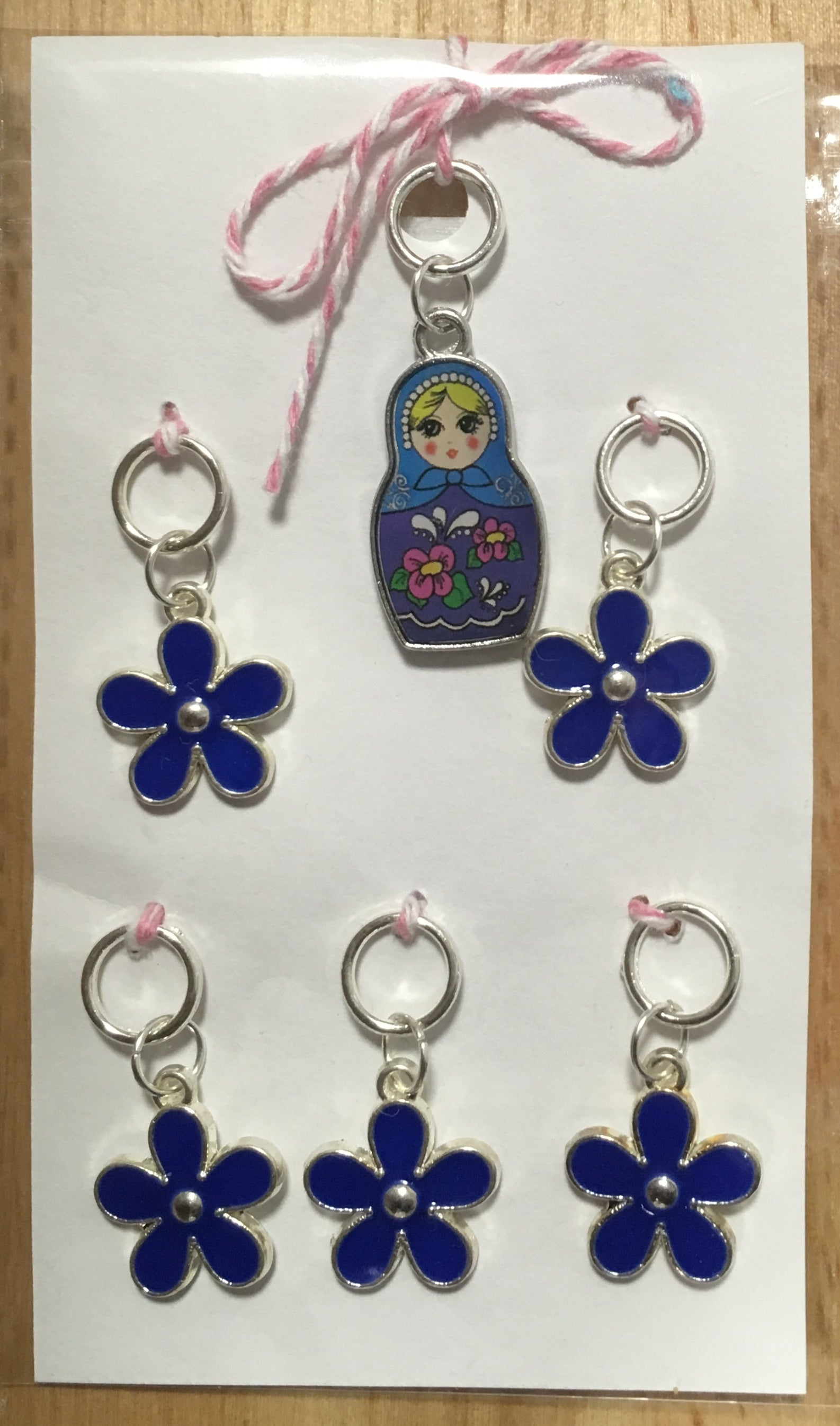 Russian Doll with Dark Blue Flowers Stitch Marker Set