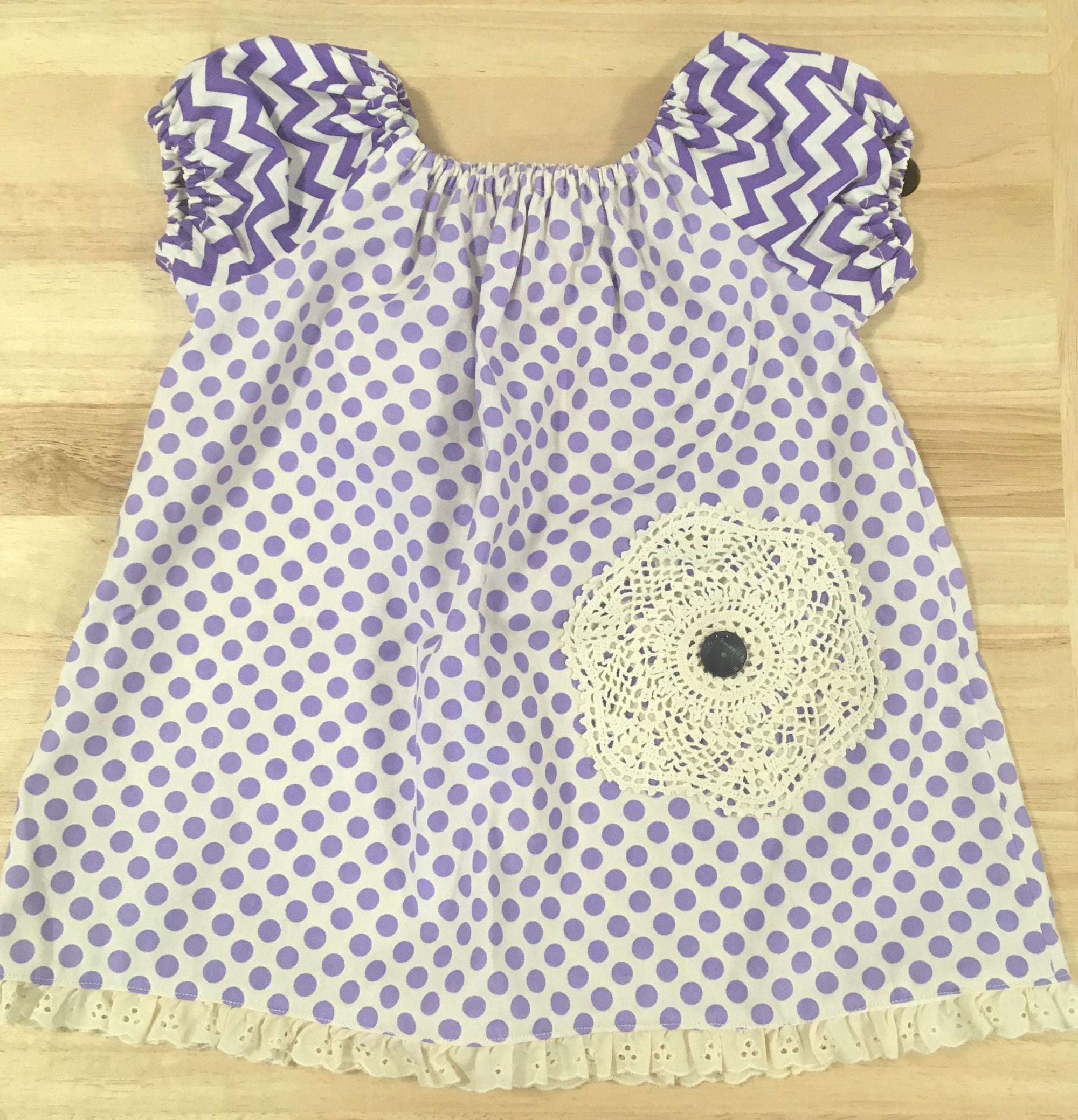 Girl's Purple Spotty Cotton Top