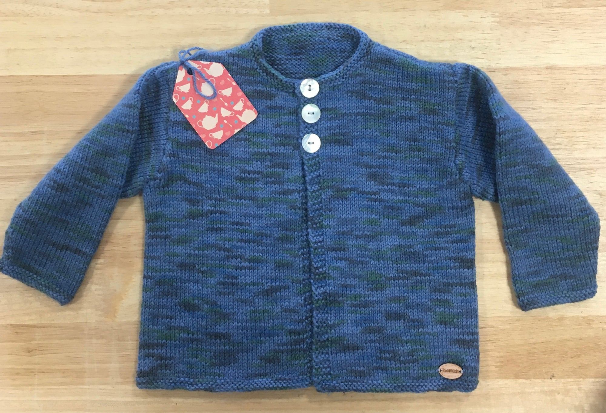 Long Sleeved Cardigan (Blue with shades of grey & green) - 6 months