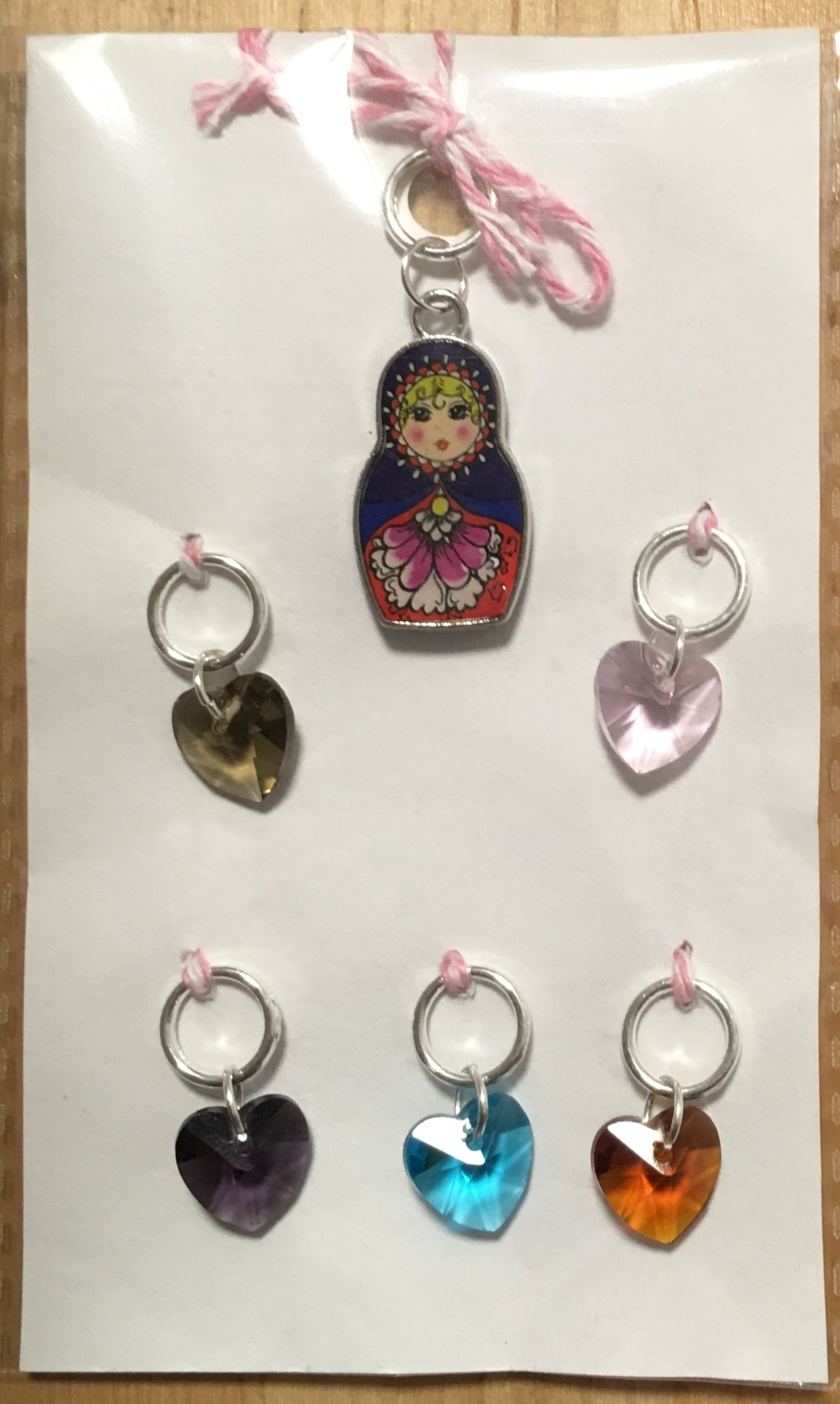 Russian Doll with Multi Colour Heart Charms Stitch Marker Set