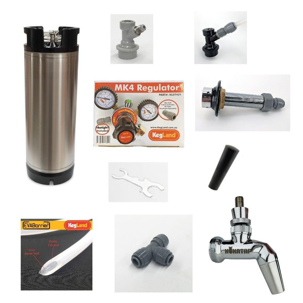 Kegerator/Keezer Starter Kit with Kegland Keg & EVABarrier 4mm ID / 8mm OD Beer & Gas Line