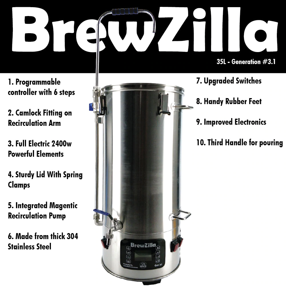 BrewZilla Gen. 3.1.1 - Single Vessel Brewery - 35 Litre