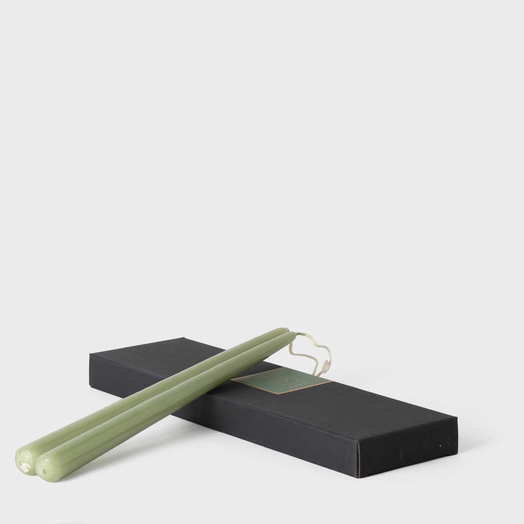 Dusty Green Lacquered Taper Candles