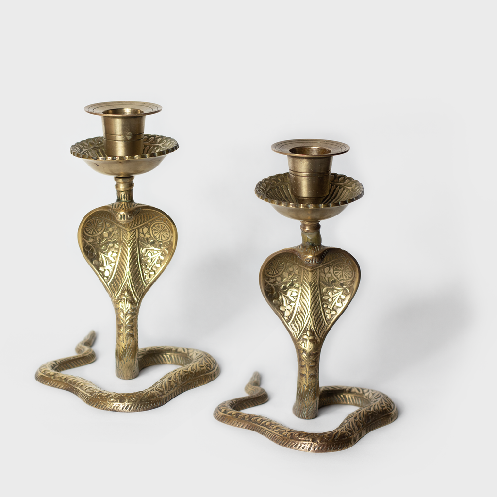 Pair of Brass Cobra Candlesticks