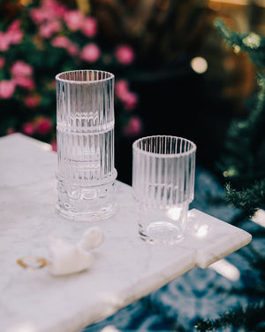 Clear Glass Stacked Glasses