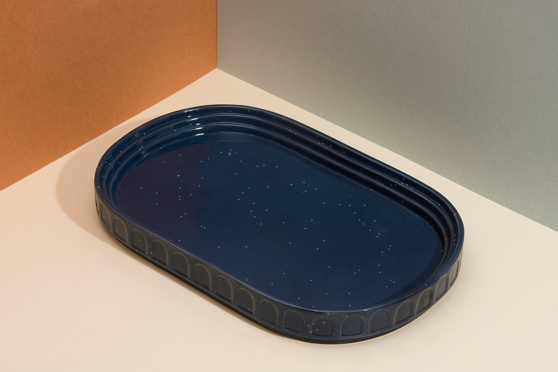Blue Speckled Ceramic Serving Platter