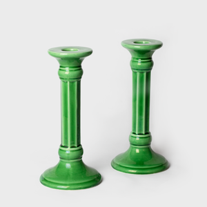 Pair of Green Ceramic Candle Sticks
