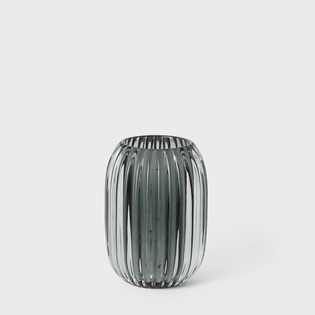 Grey Ridged Glass Candle Holder | Vespiary