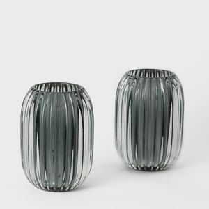 Grey Ridged Glass Candle Holder