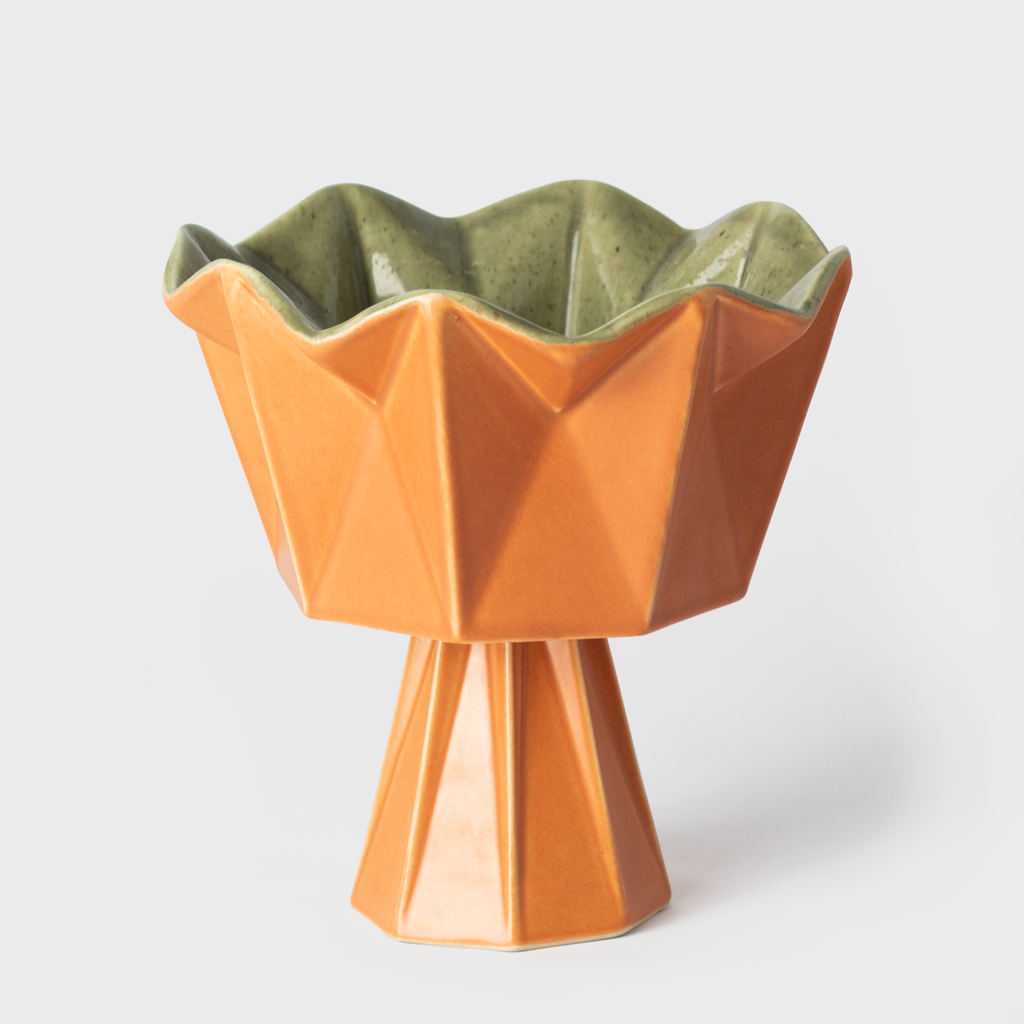 Orange Ceramic Geometric Dish