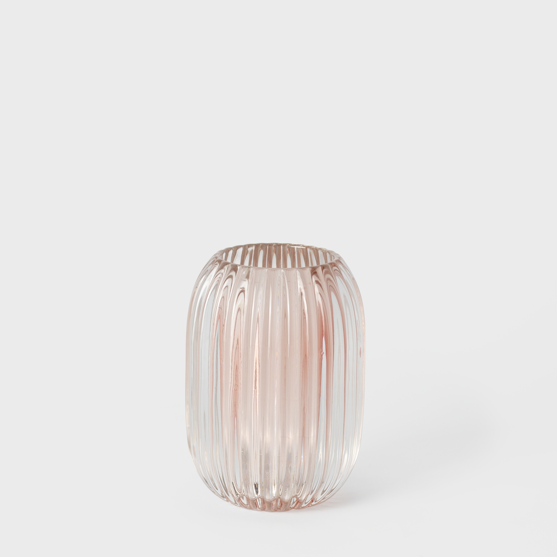 Pink Ridged Glass Candle Holder | Vespiary