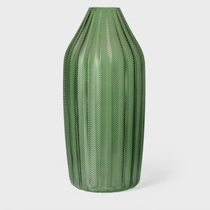Vespiary Green- Rdged Glass Vase Large