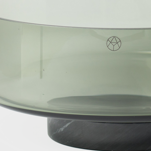 Black Glass Bowl with Marble Base