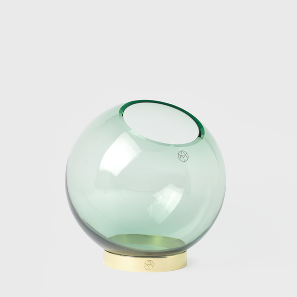 Aytm Forest Green Round Glass Vase With Brass Stand Vespiary