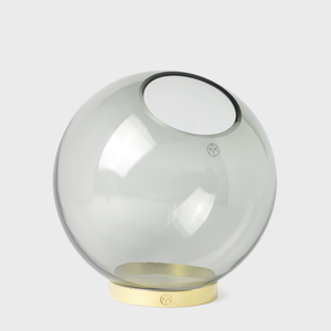 Vespiary Grey Round Glass Vase with Brass Stand AYTM