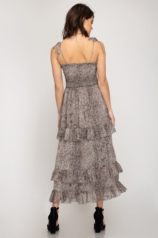 Snakeskin Tiered Dress