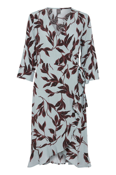 ICHI Wrap Over Dress - Coffee and Cloth