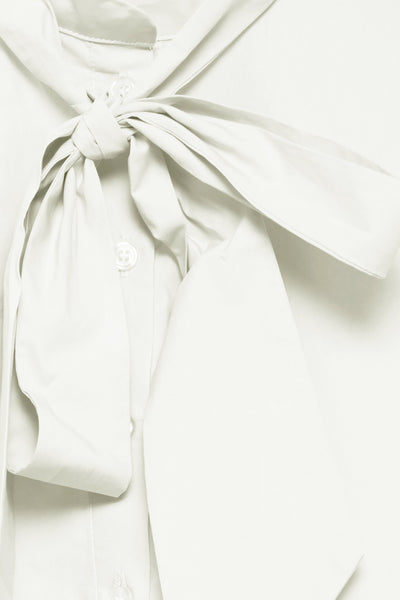 ICHI White Shirt with Detachable Neck Tie - Coffee and Cloth