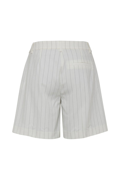 ICHI Cream And Beige Pin Striped Shorts - Coffee and Cloth