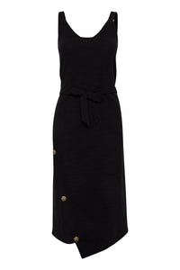 ICHI Black Jersey Alabama Dress - Coffee and Cloth