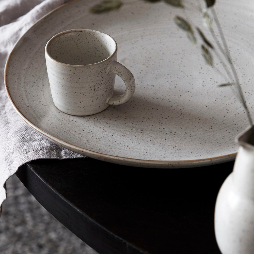 close up of the Grey & White Pion Espresso Cup By House Doctor