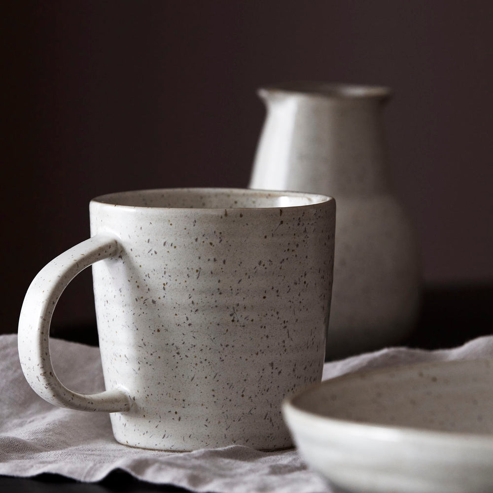 close up of the Pion Grey & White Mug By House Doctor