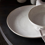 close up of House Doctor Grey & White Pion Dinner Plate