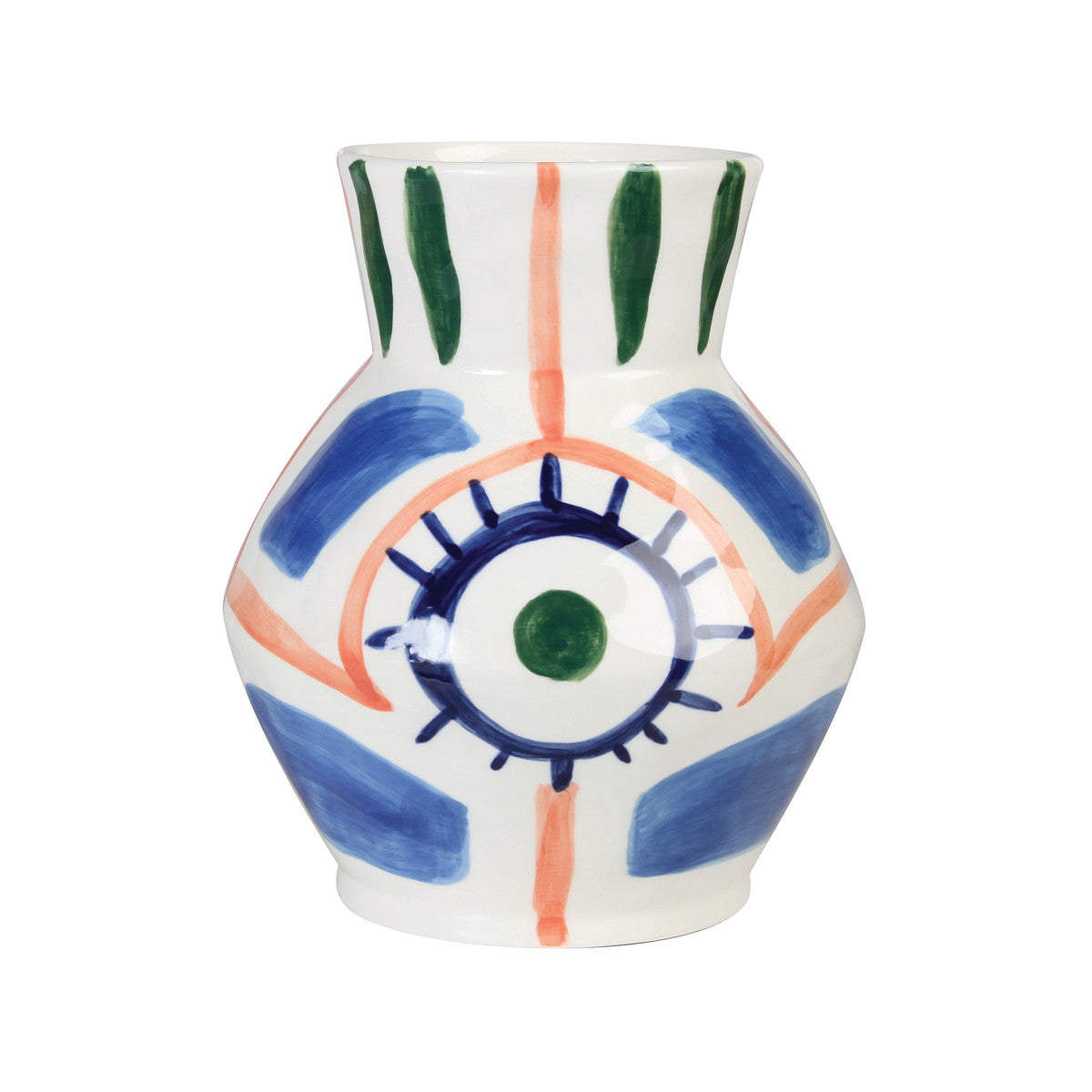 &Klevering Baariq Vase in tones of blue, coral and green