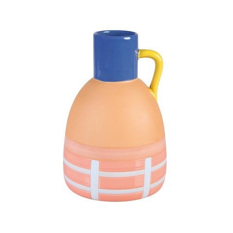 Terracotta grid vase by &Klevering in tones of blue, yellow, coral and pinks.