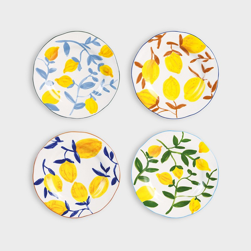 Load image into Gallery viewer, image of 4 klevering lemon theme plates