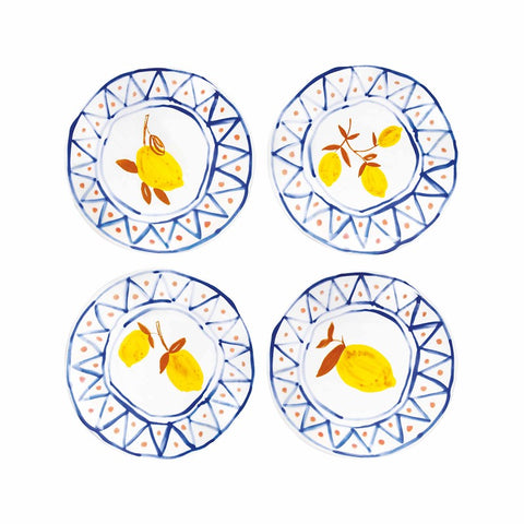 Set of 4 moroccan lemon plates by &klevering featuring Blue, orange and yellow on white background.