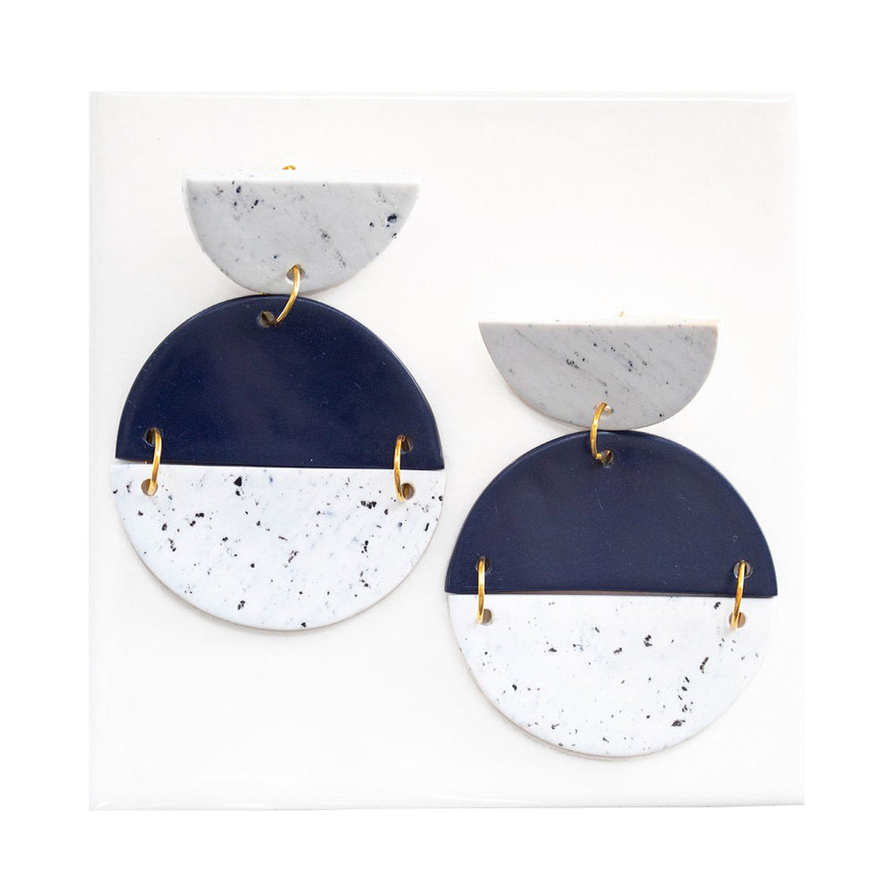 Azadeh Navy & White Earrings Sally