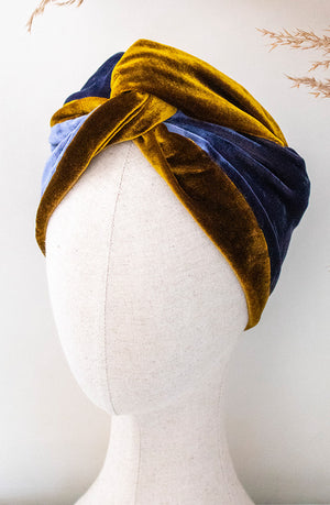 Mustard & Blue Silk Velvet Headwrap