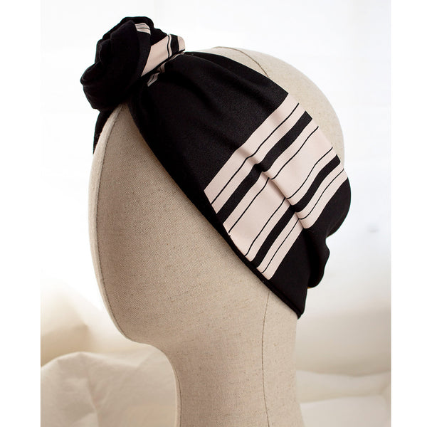 Stripe Patterned Headband Capri styled on a mannequin head
