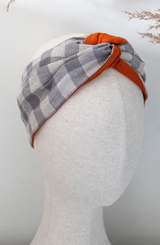Load image into Gallery viewer, checked grey and orange headband on mannequin