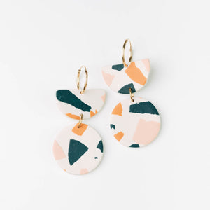 Pepper You Stephanie Hoop Earrings in Deep Teal, Pink & Orange Terrazzo