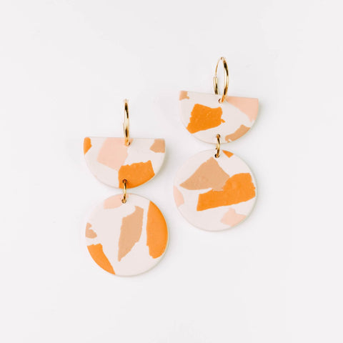 Pepper You Stephanie Hoop Earrings in Pink, Orange and Caramel Terrazzo