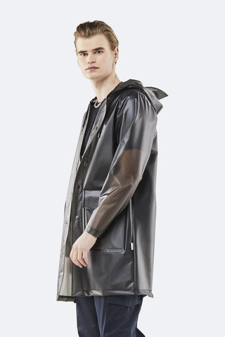 Rains Foggy Black Hooded Coat - Coffee and Cloth