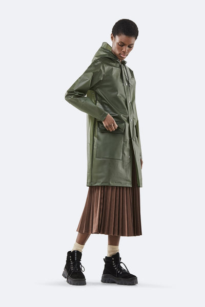 Rains Foggy Green Hooded Coat - Coffee and Cloth