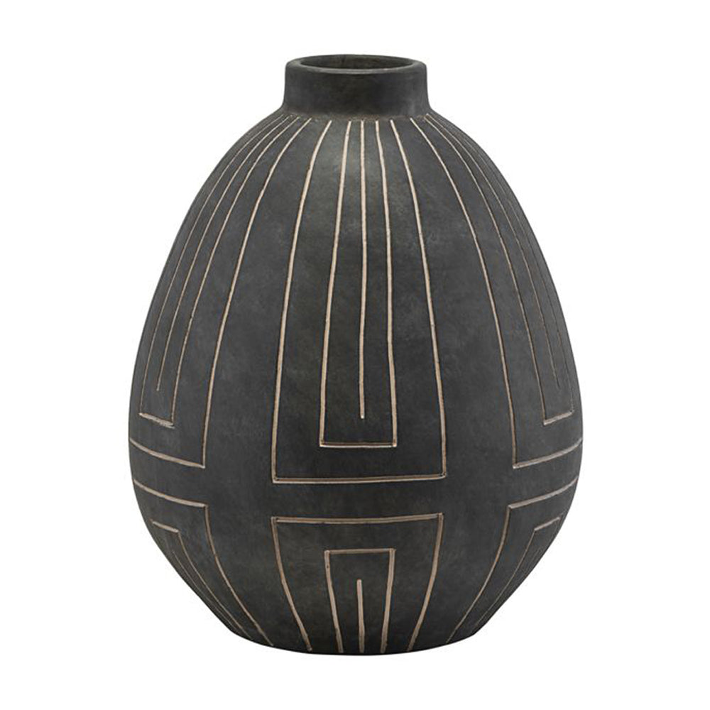 House Doctor Grey/ Black Aljeco Vase