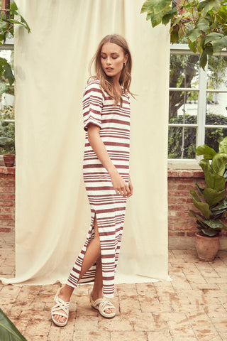 ICHI Andorra Stripe Jersey Dress - Coffee and Cloth