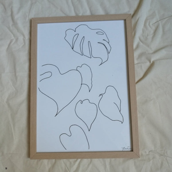James Wilson Monstera Pt.01 Line Drawing Print A4 - Coffee and Cloth